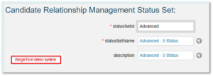 Candidate Relation Management Status Set