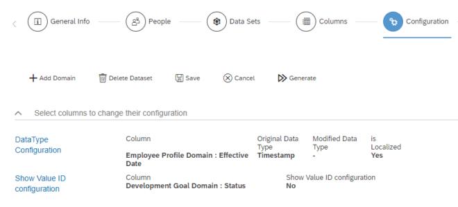 """Schritt """"Configuration"""" in SuccessFactors für Tabellen-Berichte"""