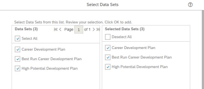 Data Sets Konfiguration in SuccessFactors für Tabellen-Berichte