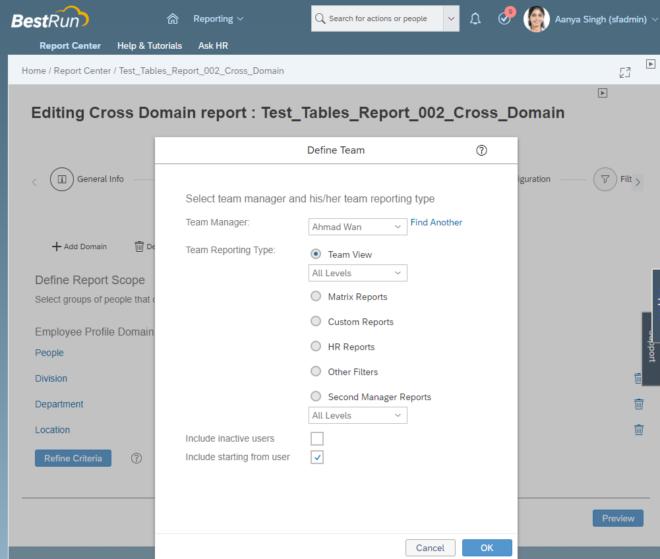 People Konfiguration in SuccessFactors für Tabellen-Berichte